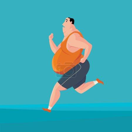 Fat man jogging.