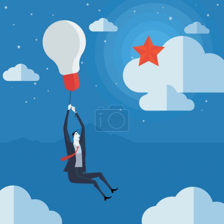 Businessman flying in air balloon with light bulb see the stars.