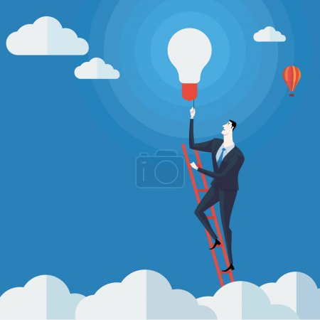 Businessman turn on the lights on a ladder above cloud.
