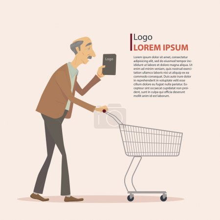The old man in casual wear with shopping cart.