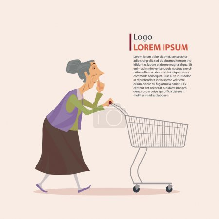 The old lady in casual wear with shopping cart.