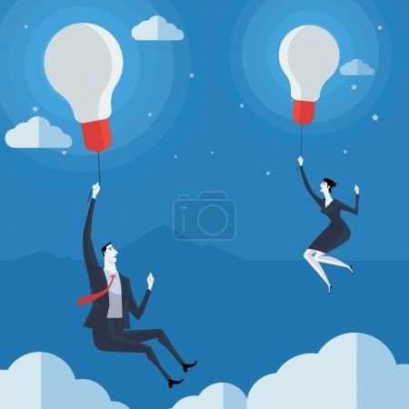 Businessman flying in air balloon with light bulb.
