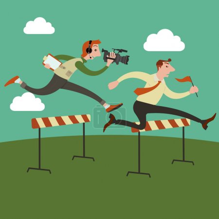 Illustration for Businessman jumping over hurdle on a running track on the way to success, Run by cameraman behind. Vector illustration. - Royalty Free Image