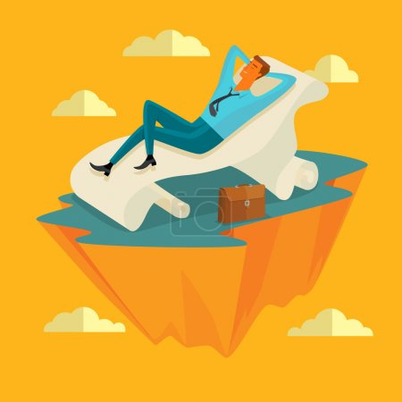 Illustration for Business concept in growth and successful. Businessman in the sky position, sleeping on a long sheet of paper in peace for any spiritual and inner peace.  Vector illustration cartoon style. - Royalty Free Image