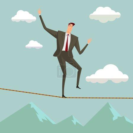 Illustration pour Concept conceptuel d'homme d'affaires ou un homme en situation de crise, marche en équilibre sur la corde sur fond de ciel bleu, métaphore pour affaires, danger, risque, risqué, finances, automne, dangereux, équilibre, un danger ou réussite. - image libre de droit