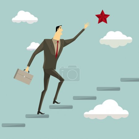Illustration for Businessman on a ladder grab the star above cloud, metaphor or symbol of overcoming adversity in strategy and finding leadership solutions corporate of success. Vector Illustration modern style. - Royalty Free Image