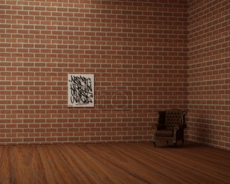 Empty redbrick room with leather armchair