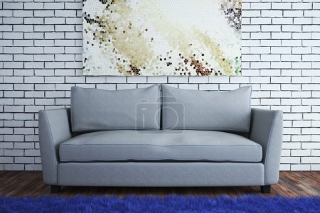Photo for The interior in a modern style with a brick wall. 3d illustration - Royalty Free Image