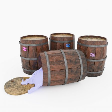 Barrels of paint and blots on them. 3d illustration.