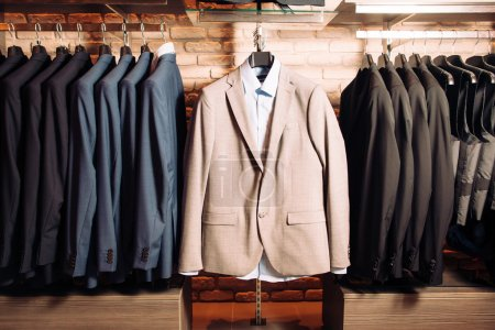 Many mens business suits of different colors
