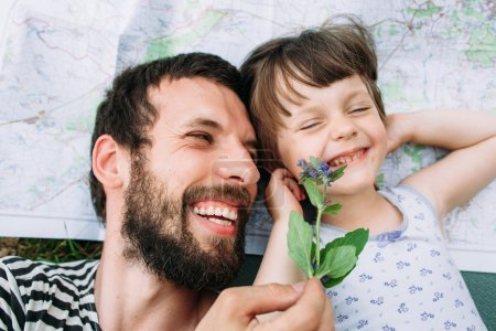 Happy family, father and daughter have fun