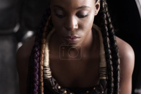 afro-american woman with ethnic accessory
