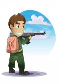 Soldier cartoon with separated layers