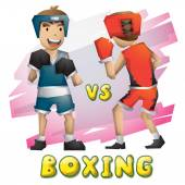 Cartoon vector boxing Olympic sport with separated layers for game and animation game design asset