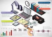 Ilustrace koncept grafické vnitra info