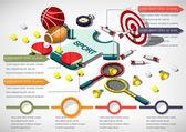 Ilustrace informace grafického sportovní zařízení koncepce