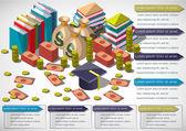 Ilustrace informace grafického peníze zařízení koncepce