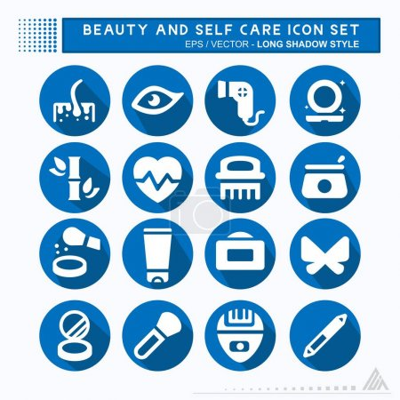 Illustration for Set Icon Vector of Beauty and Self Care - Long Shadow Style - Simple illustration, Editable stroke, Design template vector, Good for prints, posters, advertisements, announcements, info graphics, etc. - Royalty Free Image