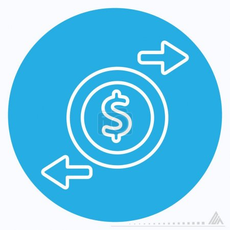 Illustration for Icon Change Money - Blue Eyes Style - Simple illustration, Editable stroke, Design template vector, Good for prints, posters, advertisements, announcements, info graphics, etc. - Royalty Free Image