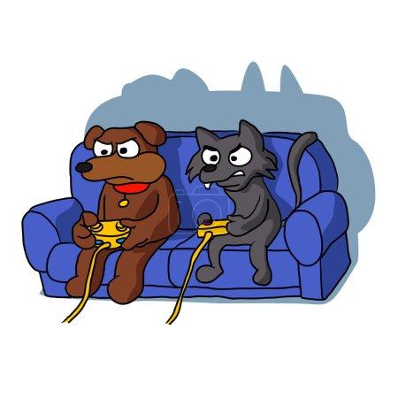 Katze und Hund spielen Videospiel zu Hause