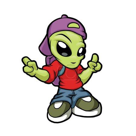 Cartoon hip hop alien.cartoon alien.