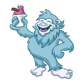 Cartoon yeti eating ice cream