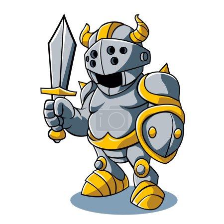 Vector illustration of Cartoon knight With Swords Shield Helmet Army Uniform
