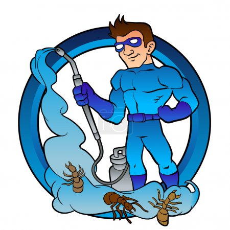 Pest Control superhero.exterminator cartoon.