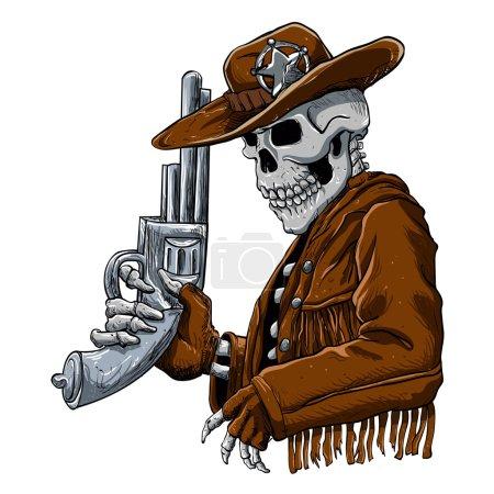 Skull cowboy.Skeleton Cowboy with revolver...