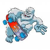 Skater yeti IsolatedSasquatch cartoon