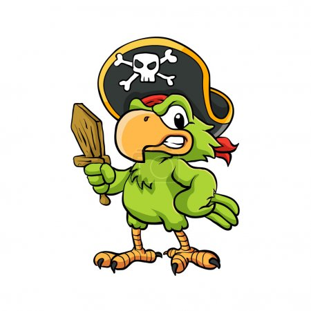 Pirate Parrot Cartoon Illustration