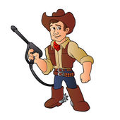 cowboy with water pressure cleaner