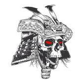 black and white samurai helmet with skull