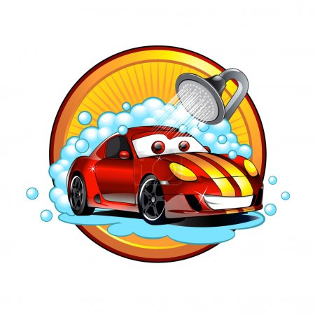 Illustration for Funny cartoon Car wash auto cleaner washer shower service - Royalty Free Image