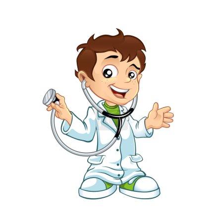 Illustration pour Mignon petit mâle médecin souriant - image libre de droit