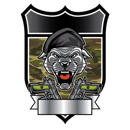 Cougar Panther Mascot Head military emblem