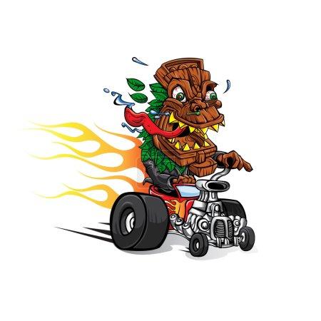 Illustration for Tiki Mask cartoon hotrod - Royalty Free Image