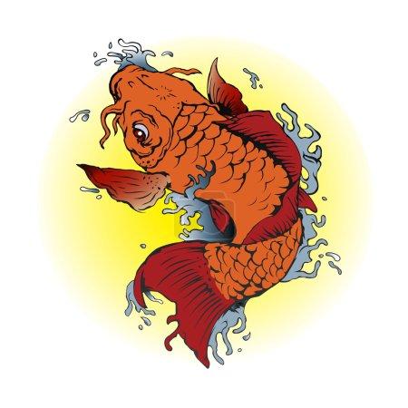 Orange Koi fish tattoo illustration.