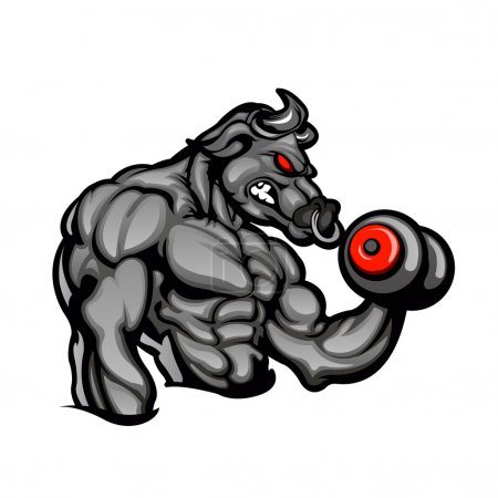 a strong angry bull with a barbell