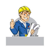 cartoon engineer holding tool and paper