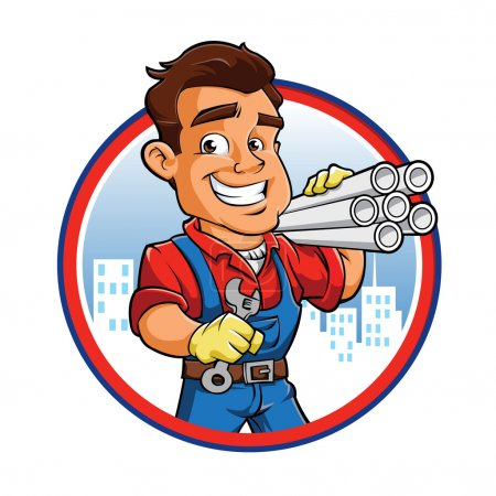 Illustration for Plumber worker with key in the hand - Royalty Free Image