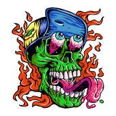 Detailed Zombie wearing hat Head Illustration