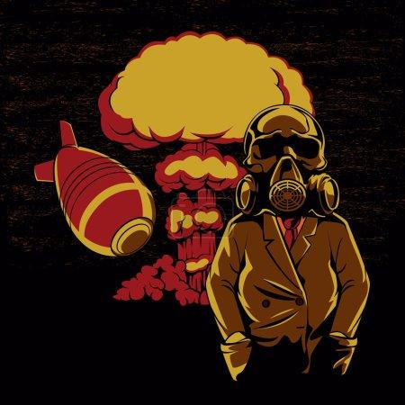 Nuclear explosion ,Skull Gas Mask Illustration,hydrogen bomb
