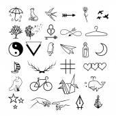 minimalistic tattoos vector set
