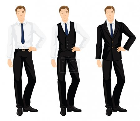 Illustration for Vector illustration of corporate dress code. Young man in formal black shoes, white shirt, black pants and black vest. Base wardrobe. - Royalty Free Image