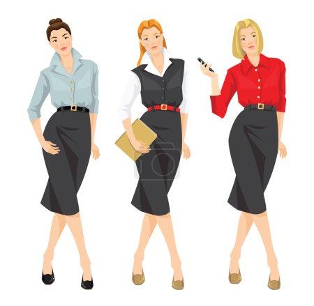 Illustration pour Illustration vectorielle de fille en différents vêtements formels - image libre de droit