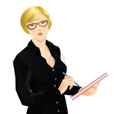 Illustration pour Jeune femme blonde en chemise noire écrivant le document. Femme sérieuse dans les lunettes - image libre de droit