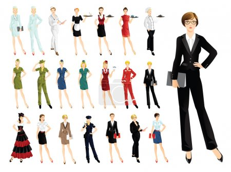 Photo for Set of professional woman isolated on white background. Woman in uniform. Professor, business woman, worker, military, stewardess, doctor, waitress, maid, secretary, engineer, policewoman - Royalty Free Image
