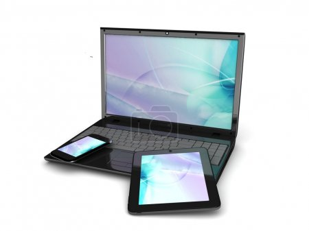 Photo pour Conception sensible pour écran d'ordinateur-web, smartphone, tablette icônes ensemble - image libre de droit