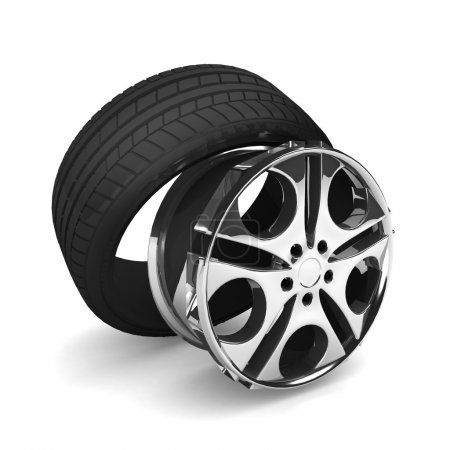 Photo for Car wheel on white background. - Royalty Free Image